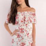 Fildişi Çiçekli Omzu Açık Elbise Modelleri 2018