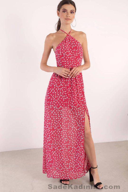 Kırmızı Çiçekli Uzun Elbise Modelleri 2021