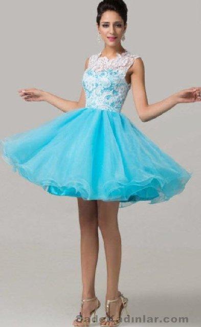 Kısa Gece Elbiseleri 2021 Abiye Modelleri mavi sıfır kol balerin etek model