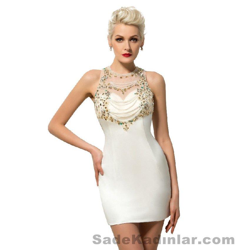 Kısa Gece Elbiseleri 2021 beyaz mini sıfır kollu taşlı Abiye Modelleri