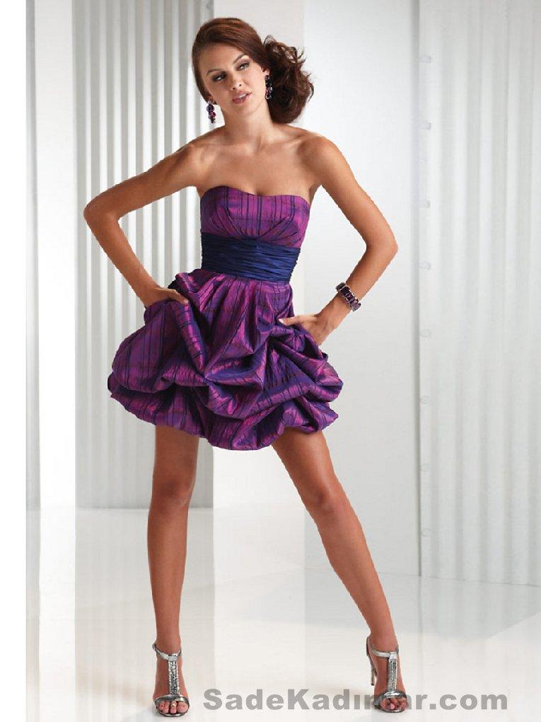 Kısa Gece Elbiseleri 2021 mor renkli mini straplez beli mor kemerli etekleri buruşuk Abiye Modelleri