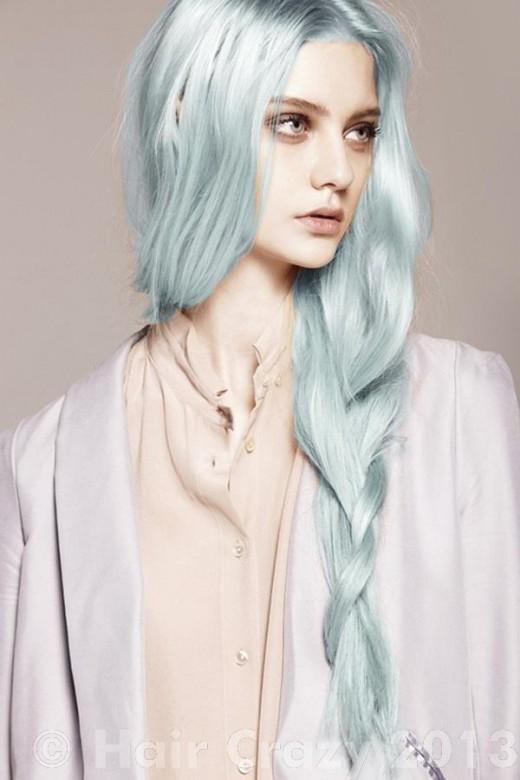 Pastel Renkli Ombre Saç Modelleri ve Saç Renkleri - düz saç gri renkli