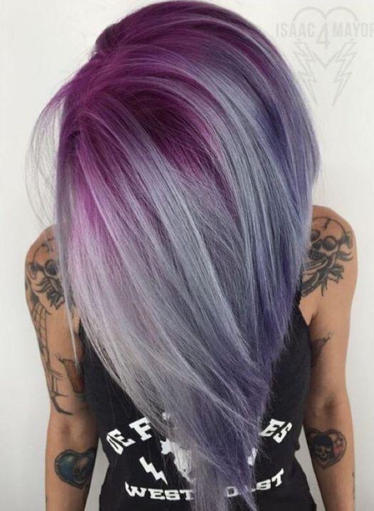 Pastel Renkli Ombre Saç Modelleri ve Saç Renkleri - düz saç mor ve gri renkli