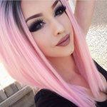 Pastel Renkli Ombre Saç Modelleri ve Saç Renkleri -düz saç pembe ve siyah renkli