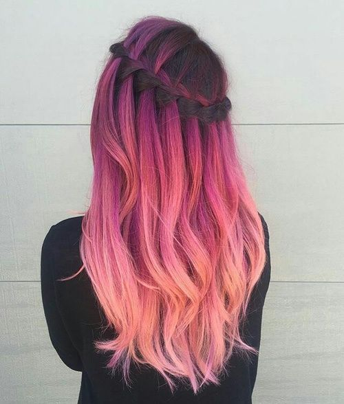 Pastel Renkli Ombre Saç Modelleri ve Saç Renkleri - örgülü şelale saç pembe ve bakır renkli