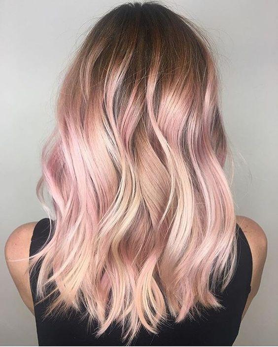 Pastel Renkli Ombre Saç Modelleri ve Saç Renkleri - su dalgası saç pembe ve sarı renkli