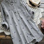 Uzun gömlek tunik modelleri gri renkli yaprak işleme desenli