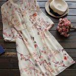 Uzun gömlek tunik modelleri krem renkli çiçek desenli