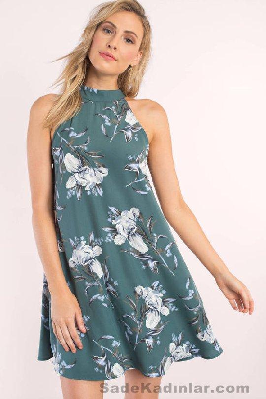 Yeşil Çiçekli Halter Yaka Kısa Elbise Modelleri