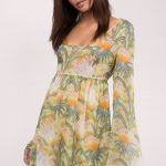 Yeşil Çiçekli Uzun Kollu Kısa Elbise Modelleri