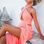 En Şık Gece Kıyafetleri 2020 Abiye Elbise Uzun Mercan Rengi