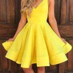 En Şık Gece Kıyafetleri 2018 Abiye Elbise Kısa Sarı Renk