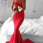 En Şık Gece Kıyafetleri 2020 Balık Abiye Elbise Kırmızı