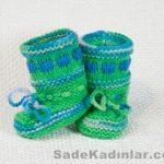 Örgü Bebek Patik Modelleri yeşil renkli bilekten bağcıklı