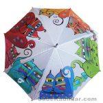Şemsiye Modelleri beyaz renkli rengarenk kedi figürlü