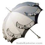 Şemsiye Modelleri gri renkli kenarları sıralı fırfırlı