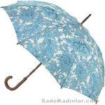 Şemsiye Modelleri mavi renkli çiçek desenli