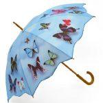 Şemsiye Modelleri mavi renkli kelebek desenli