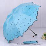 Şemsiye Modelleri mavi renkli kenarlar kıvrımlı kesimli siyah noktalı model