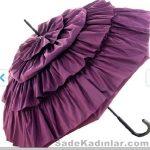 Şemsiye Modelleri mor renkli kat kat kabarık modelli