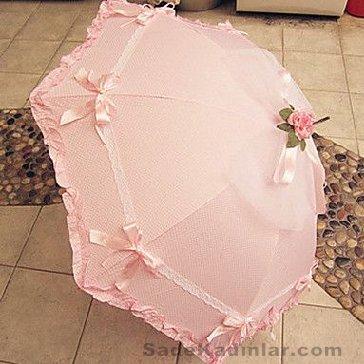 Şemsiye Modelleri pembe renkli kenarları fırfırlı