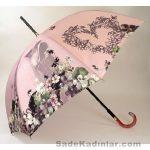 Şemsiye Modelleri pudra renkli çiçek ve insan figürlü
