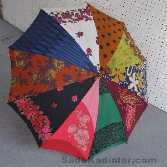 Şemsiye Modelleri rengarenk oniki parçalı basma desenli