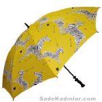 Şemsiye Modelleri sarı renkli zebra desenli