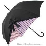 Şemsiye Modelleri siyah renkli kenardan çizgili fiyonklu