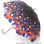 Şemsiye Modelleri siyah renkli rengarenk damlacıklı