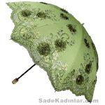 Şemsiye Modelleri yeşil renkli nakış işlemeli yeşil güllü