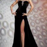 Siyah Elbise Kombinleri 2019 uzun sıfır kollu derin yırtmaçlı t taş süslemeli Abiye Modeli