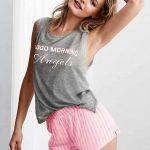 Şortlu Pijama Takımları Gri sıfır kollu çizgili Pijama Takımları