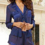 Şortlu Pijama Takımları Lacivert tülü gömlek modelli Pijama Takımları