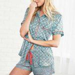 Şortlu Pijama Takımları Mavi çiçekli gömlek modelli kısa kollu Pijama Takımları
