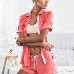 Şortlu Pijama Takımları Pembe 3 parçalı gömlekli kısa kollu Pijama Takımları
