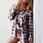 Şortlu Pijama Takımları Pembe ekoseli gömlek modelli Pijama Takımları