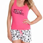 Şortlu Pijama Takımları Pembe kalın askılı altı desenli Pijama Takımları