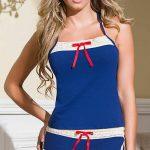 Şortlu Pijama Takımları Saks Mavi ip askılı kurdela fiyonk süslü Pijama Takımları