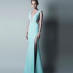 turkuaz renkli uzun modern kesimli şık Abiye Modelleri