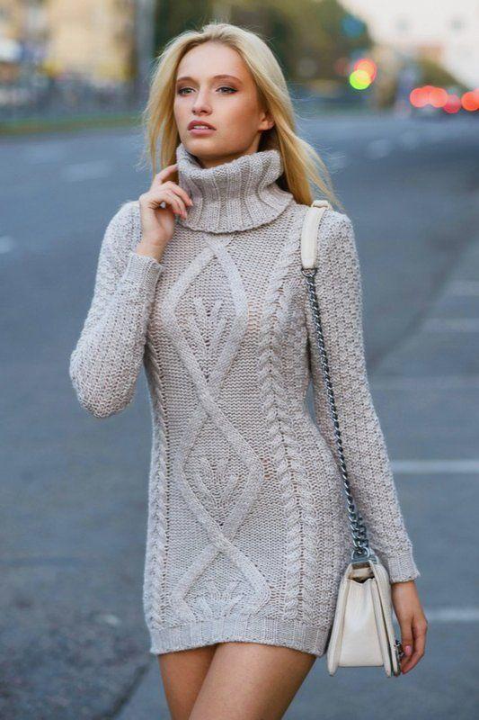 Vizyon Triko Elbise Modelleri Şık ve Dikkat Çekici 2018 Kazak Elbiseler