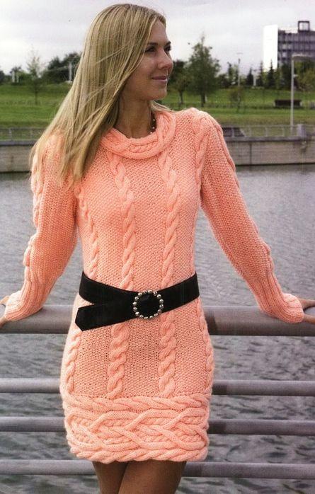 Yavruağzı Triko Elbise Modelleri Şık ve Dikkat Çekici 2018 Kazak Elbiseler