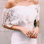 2018 Abiye Elbise Beyaz Omzu Açık Elbise Modelleri