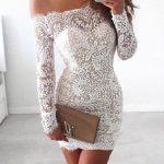 2018 Abiye Elbise Beyaz kısa omzu açık komple dantelli