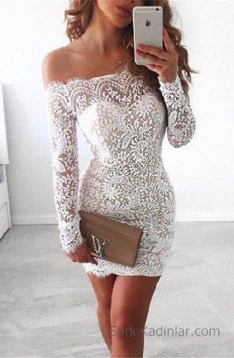 2021 Abiye Elbise Beyaz kısa omzu açık komple dantelli