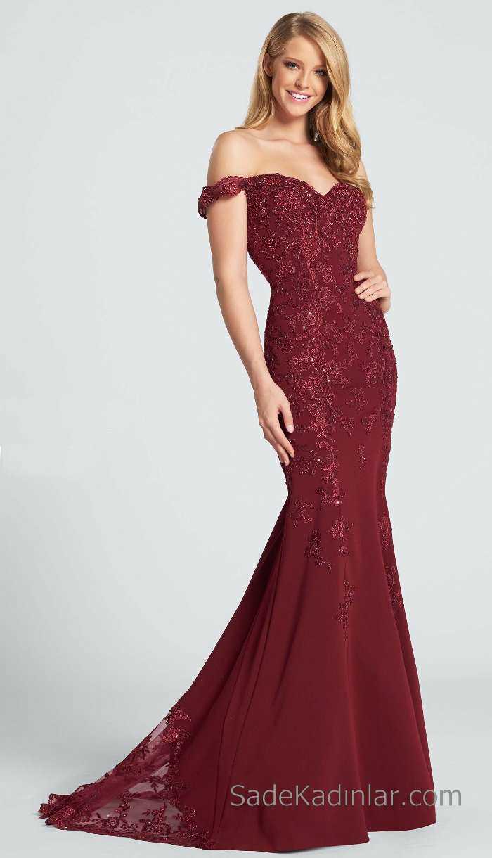 2018 Abiye Elbise Kırmızı Uzun Omzu Açık Boncuk İşlemeli
