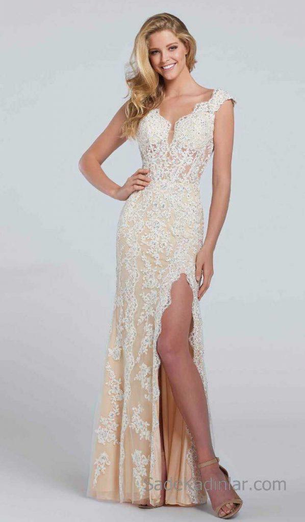 2018 Abiye Elbise Modelleri Fildişi Uzun Askılı El İşleme Boncuklu