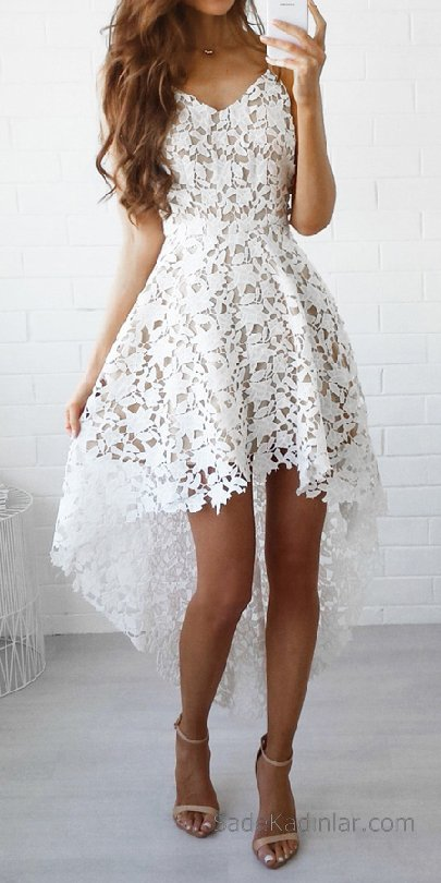 2018 Abiye Elbise beyaz kısa askılı arkası uzun etekli