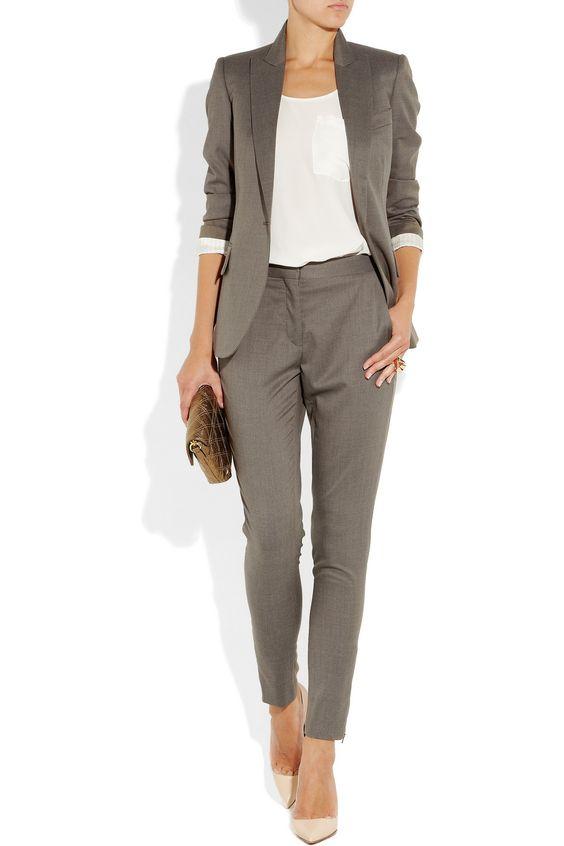 2021 Ofis Kombinleri Bayan Takım Elbise Gri Pantolon ve Ceket Spor Takım
