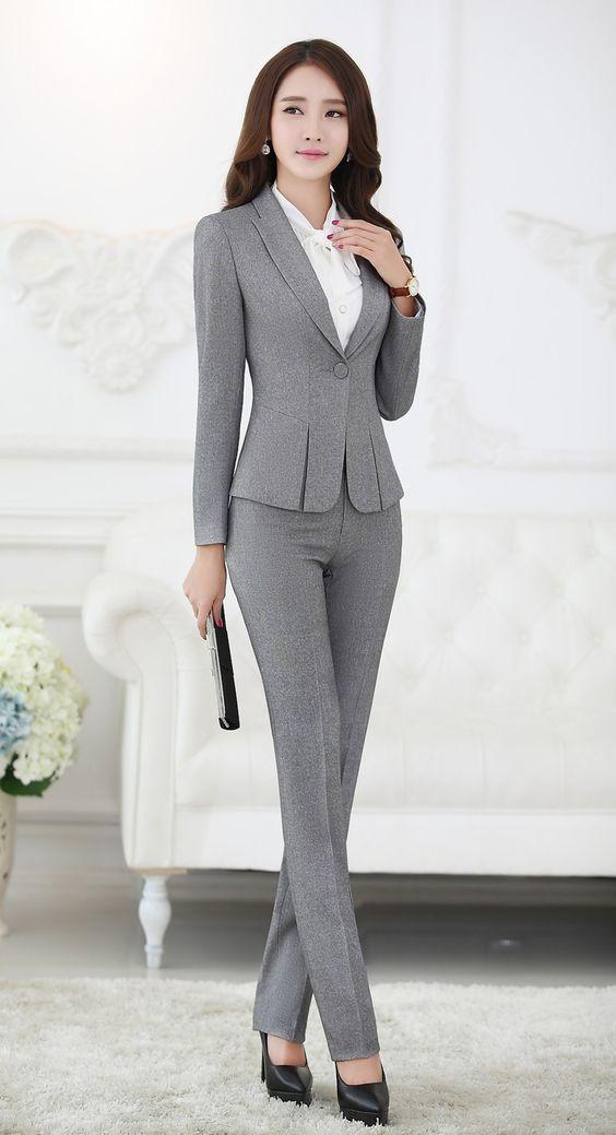 2021 Ofis Kombinleri Bayan Takım Elbise Gri dar Kesim Pantalon ve Ceket Takım